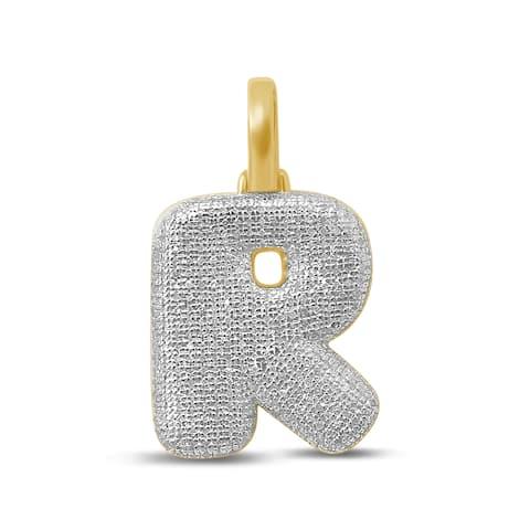 Unending Love 10K Yellow Gold 5/8ct. TDW Diamond 'R' Initial Pendant Necklace