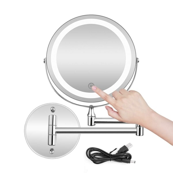 5X LED Wall Mounted Makeup Mirror with Dimmable Lights