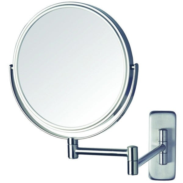 8-Inch Wall Mount Makeup Mirror with 5x Magnification, Nickel Finish