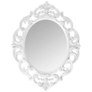 White Oval Vintage Wall Mirror