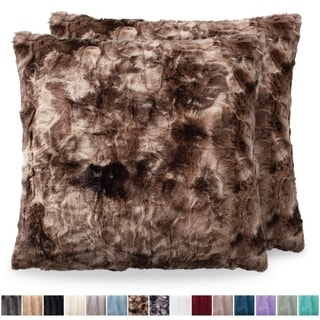 Faux Fur Pillowcases, 18x18, Brown