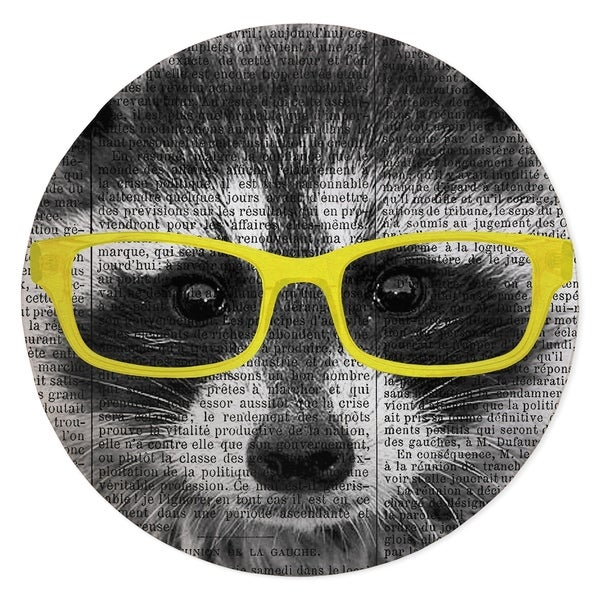 RACCOON IN YELLOW GLASSES Area Rug By Kavka Designs