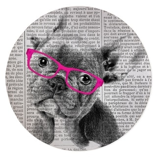 FRENCH BULLDOG WITH PINK GLASSES Area Rug By Kavka Designs