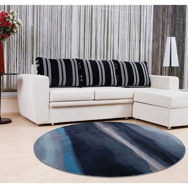 Copper Grove Ocnita Abstract Navy, Sky, and Grey Round Area Rug - 5'6
