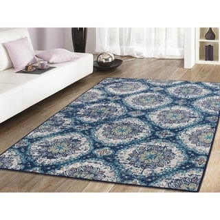RugSmith Cobalt Pune Distressed Transitional Area Rug, 5' x 7' - 5' x 8'/Surplus
