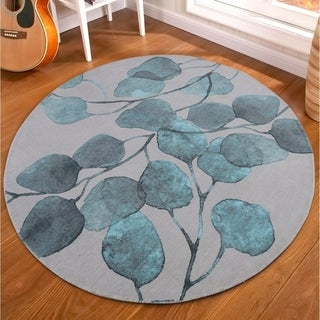"RugSmith Turquoise Ficus Modern Floral Round Area Rug, 5'6"" x 5'6"" Round - 6' Round"