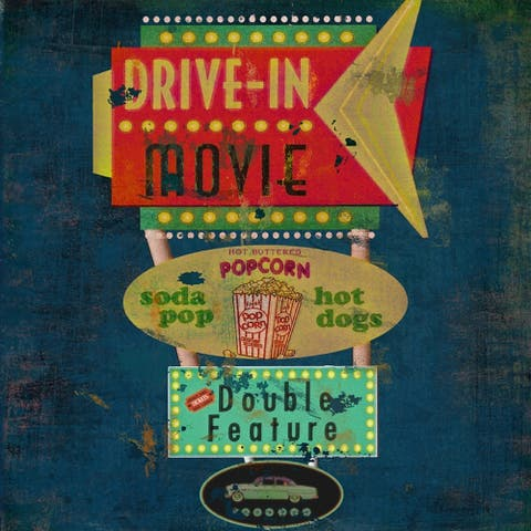 CANVAS Retro Drive in Theater by Marilu Windvand Graphic Art Painting - 18 x 18
