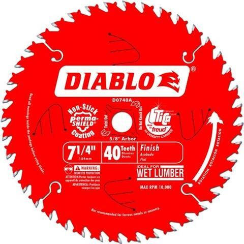 """Freud D0740A Diablo 7-1/4"""" 40 Tooth Finishing Saw Blade w/ 5/8"""" Arbor - 71/4"""""""