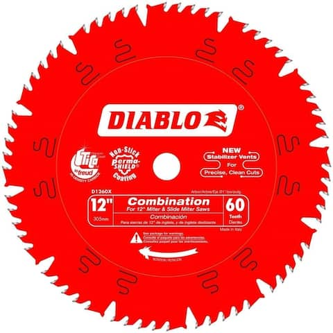 "Diablo D1260X Freud 12"" by 60t 1"" Arbor Combination Saw Blade (5 Pack)"