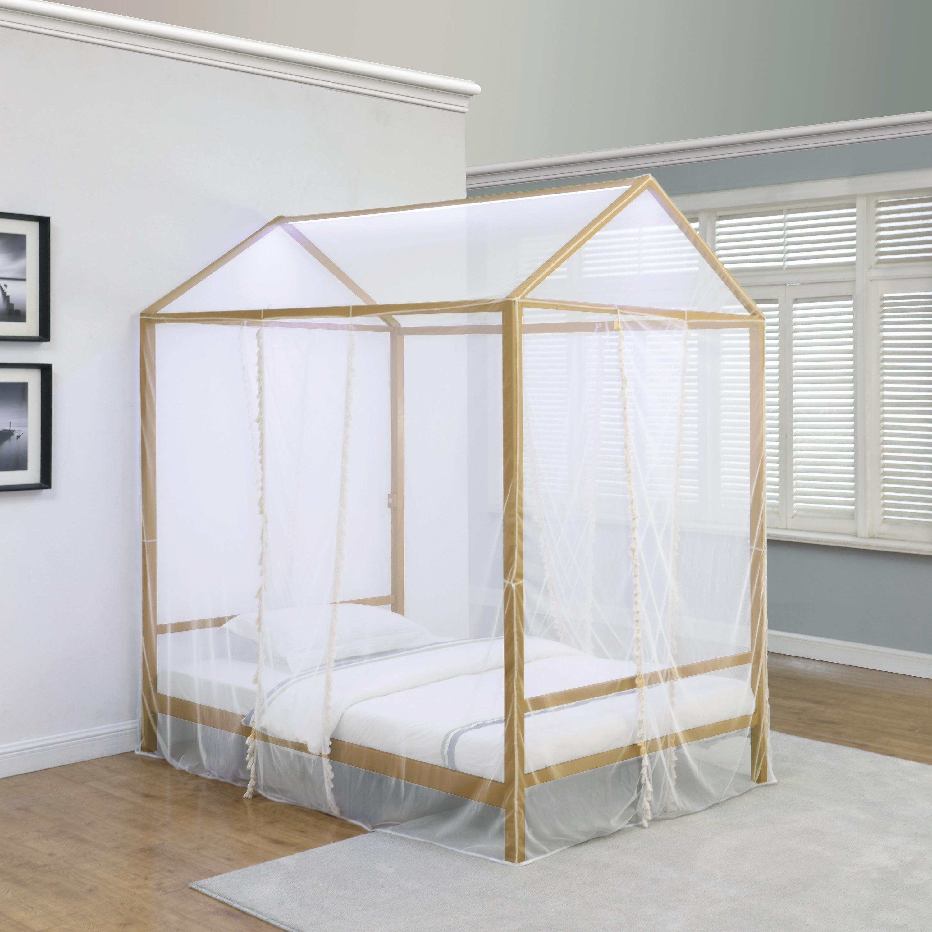 Shop Black Friday Deals On Taylor Olive Daffodil Gold White Sheer Canopy Bed With Led Lighting Overstock 29176937