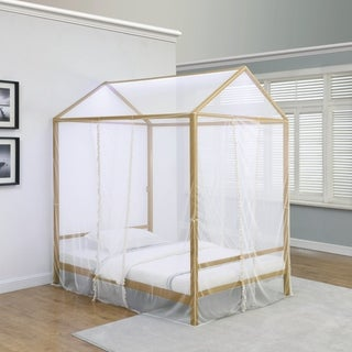 Taylor & Olive Daffodil Gold/ White Sheer Canopy Bed with LED Lighting