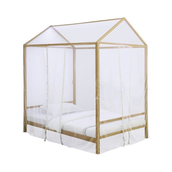 Cream//Champagne 4 Poster Mosquito Net Bed Canopy NEW!