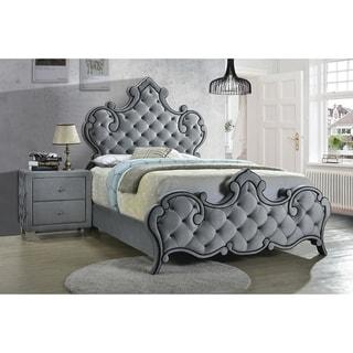 Gracewood Hollow Kapadia Grey Rhinestone Button-tufted Bed