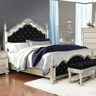 Silver Orchid Campbell Metallic Platinum Upholstered Poster Bed