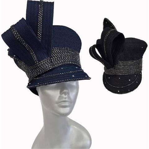 Women's Designer Couture Denim Ribbon Captains Cap Derby Wedding Hat