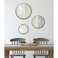 Kate and Laurel Traviston Wood Framed Round Mirror Set - Natural - 3 Piece