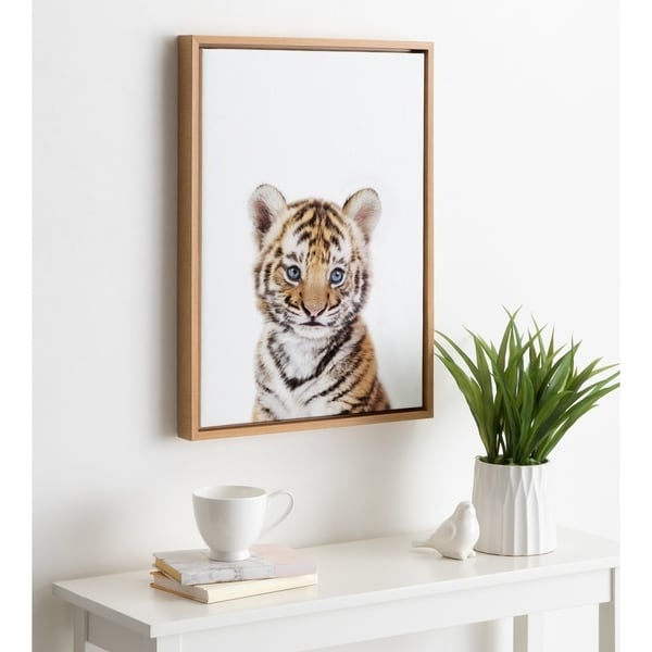 Kate and Laurel Sylvie Baby Tiger Framed Canvas by Amy Peterson. Opens flyout.