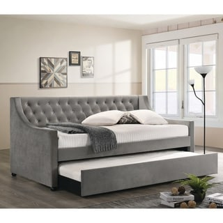 Copper Grove Amvrosiivka Grey Curved Track Arm Upholstered Daybed with Trundle