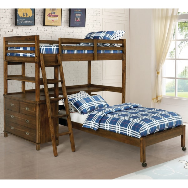 Taylor & Olive Bramble Brown Twin Bed with Casters