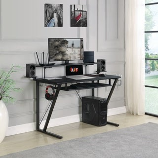 Porch & Den Chaps Gunmetal Gaming Desk with Cupholder