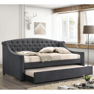 Copper Grove Volochysk Grey Scrolled Arm Upholstered Daybed with Trundle