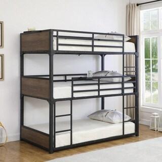 Taylor & Olive Patchouli Matte Black/ Chestnut Twin Triple Bunk Bed