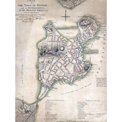 CANVAS Antique Boston Harbor Map by Brandi Fitzgerald Graphic Art