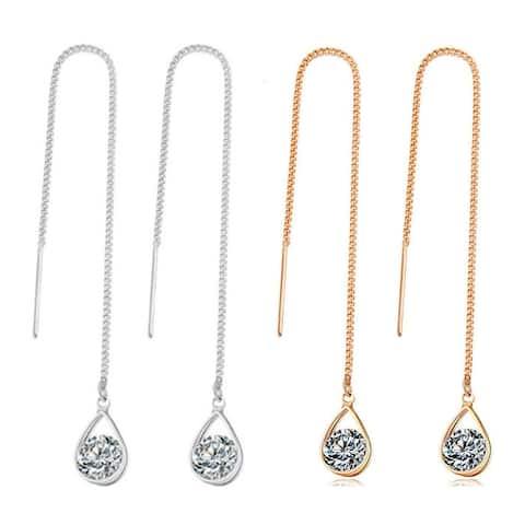 Tear Drop Crystal Dangle Chain Earrings