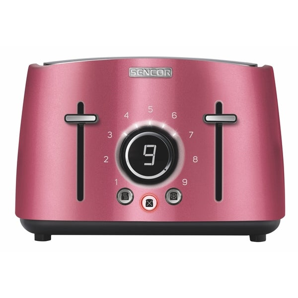 Sencor STS6074RD 4-slot Toaster with Digital Button and Rack, Red