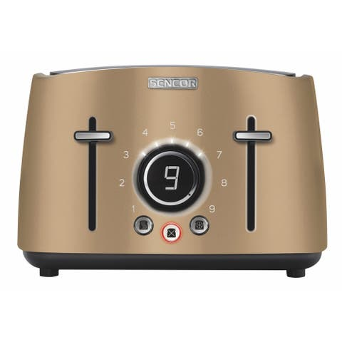 Sencor STS6077CH 4-slot Toaster with Digital Button and Rack, Champagne
