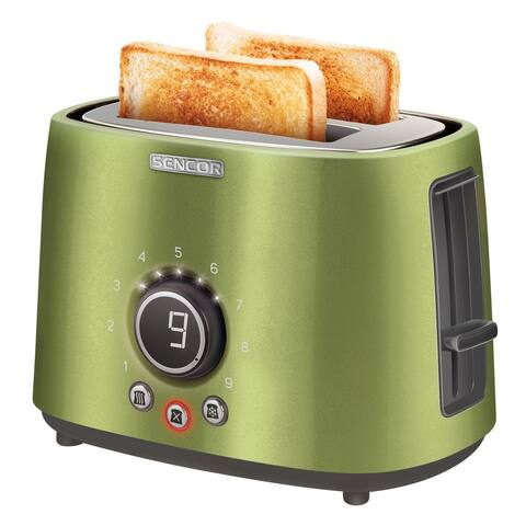 Sencor STS6050GG 2-slot Toaster with Digital Button and Rack, Light Green