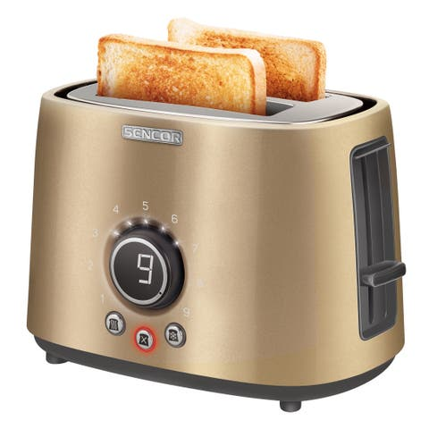 Sencor STS6057CH 2-slot Toaster with Digital Button and Rack, Champagne
