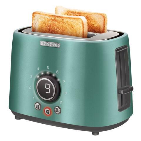 Sencor STS6051GR 2-slot Toaster with Digital Button and Rack, Green