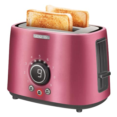 Sencor STS6054RD 2-slot Toaster with Digital Button and Rack, Red