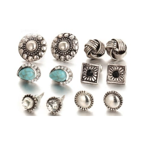 Antique Silver Turquoise Love Knot Crystal Stud Earring Set 6 Pairs - Antique Silver