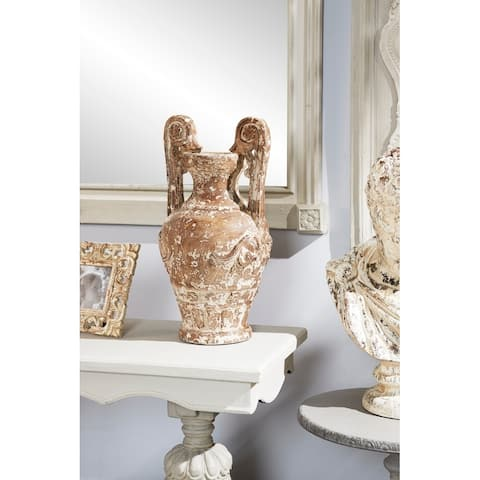 Studio 350 Distressed Brown and White Amphora Vase w/ Carved Floral and Acanthus Accents