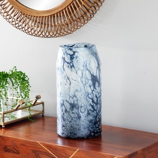 Studio 350 Cylindrical Bubble Texture Blue Glass Vase