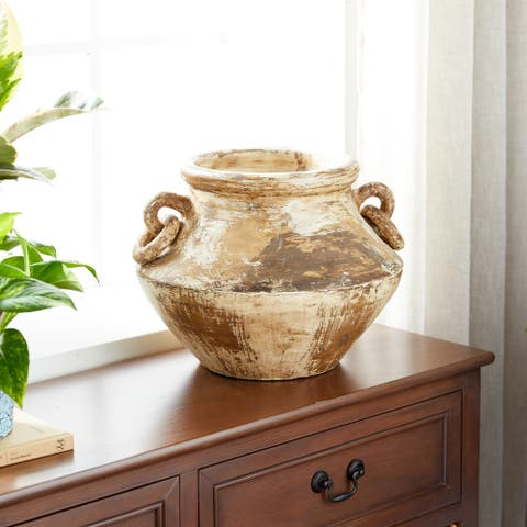 "Studio 350 Large Distressed Beige and Brown Round Ceramic Pot w/ Handles, 13"" x 10"""