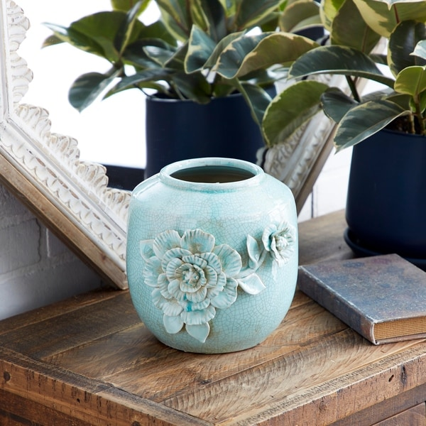 Studio 350 Crackle Glazed Aqua Colored Vintage Decorative Vase w/ Flower Relief Design