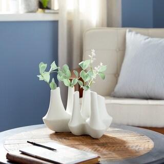 Studio 350 Large Abstract Modern White Ceramic Vase Cluster with 6 Bud Vases