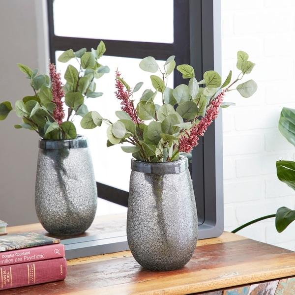 Studio 350 Modern Style Round Textured Metallic Silver Smoked Glass Vase Table Decor