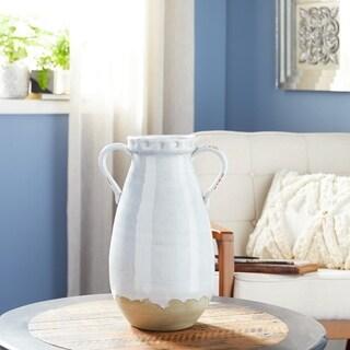 Studio 350 Large Round Crackle Glazed White Ceramic Vase w/ Amphora Shape and Handles