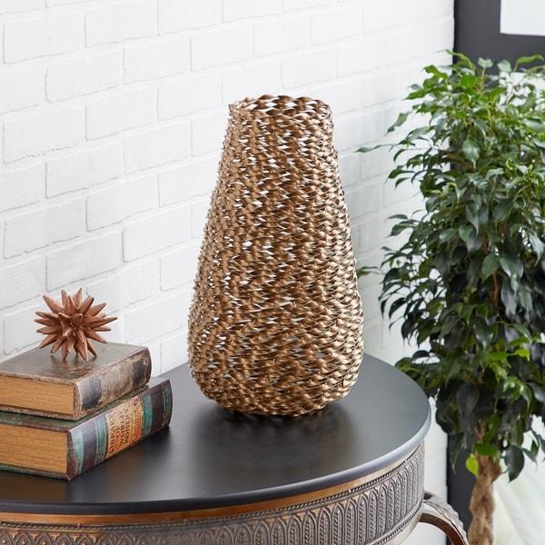 Studio 350 Modern Style Large, Round, Twisted Gold Metal Vase