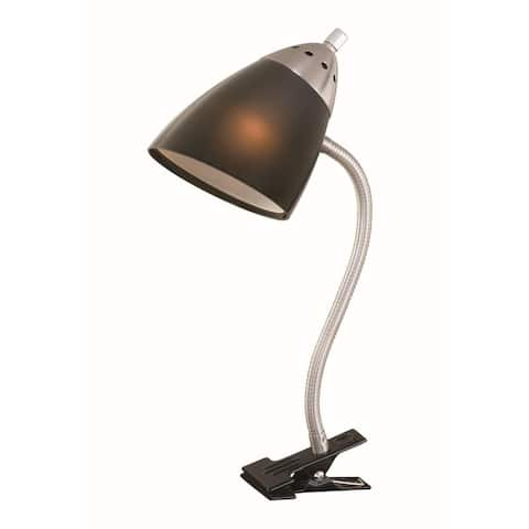 Clip-On Satin Nickel Desk Lamp Light with Black Shade - 5-in W x 18-in H x 5-in D