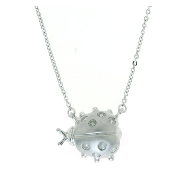 Sterling Silver 1/7ct. TDW Diamond Lady Bug Necklace by Beverly Hills Charm