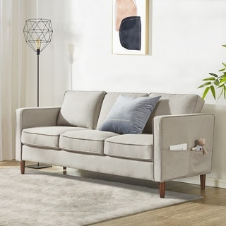 Link to HANA Modern Linen Fabric Loveseat / Sofa / Couch with Armrest Pockets, Sand Grey - Crown Comfort Similar Items in Sofas & Couches