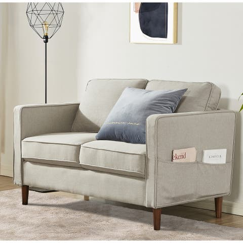 HANA Modern Linen Fabric Loveseat / Sofa / Couch with Armrest Pockets, Sand Grey - Crown Comfort