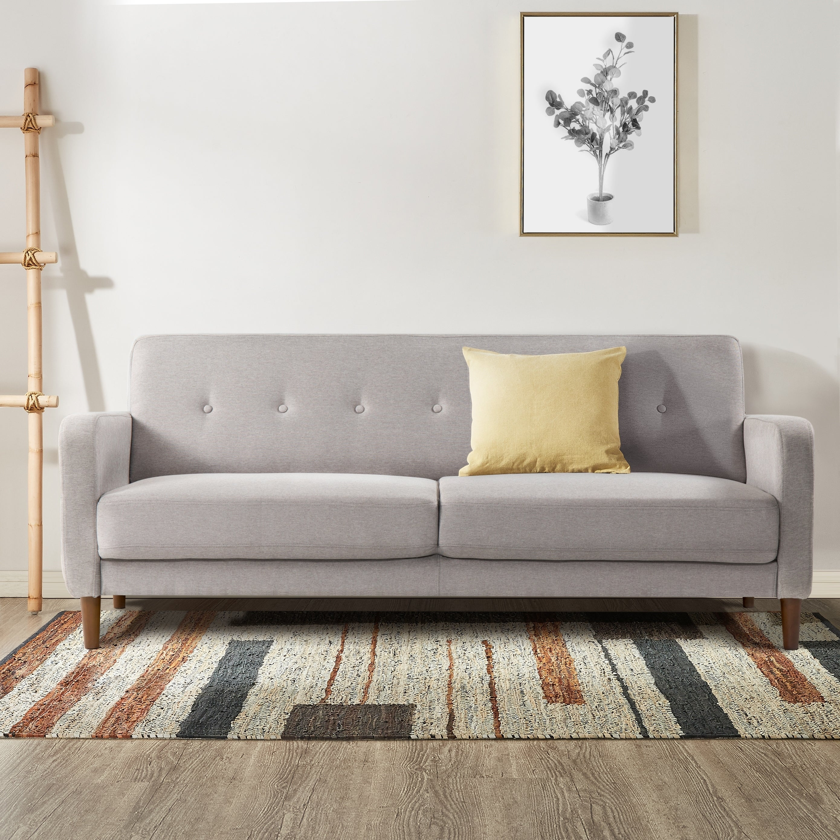 Shop Black Friday Deals On Adair Mid Century Modern Loveseat Sofa Couch With Armrest Pockets Tufted Linen Fabric Light Grey Crown Comfort On Sale Overstock 29179153