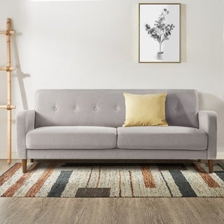 Link to ADAIR Mid-Century Modern Loveseat / Sofa / Couch with Armrest Pockets, Tufted Linen Fabric, Light Grey - Crown Comfort Similar Items in Sofas & Couches