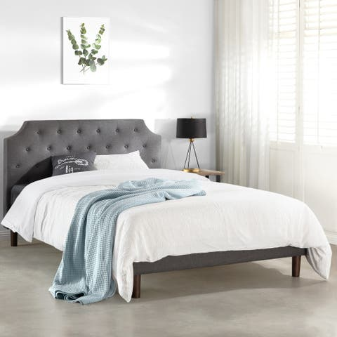 MAVN Upholstered Platform Bed, Modern Tufted Headboard, Real Wooden Slats and Legs, Dark Grey - Crown Comfort